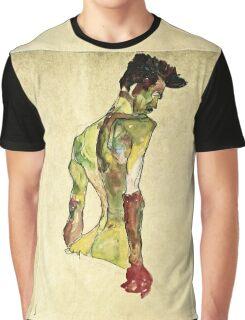 Egon Schiele - Male Nude In Profile Facing Right  Graphic T-Shirt