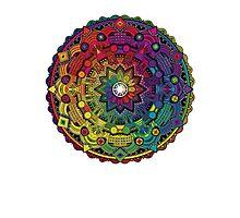 "Mandala 59 ""Time Dilation"" Rainbow Multicoloured Photographic Print"