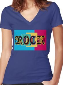 Colorful Happy Cool Rock Music Graphic Design Women's Fitted V-Neck T-Shirt