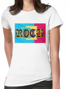 Colorful Happy Cool Rock Music Graphic Design Womens Fitted T-Shirt