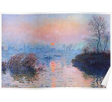Claude Monet - Sunset On The Seine At Lavacourt Winter Effect Poster