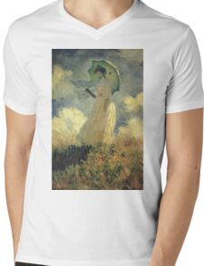 Claude Monet - Woman With A Parasol Also Known As Study Of A Figure Outdoors Facing Left Mens V-Neck T-Shirt