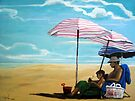"""""""Like Father, Like Son"""" beach painting by LindaAppleArt"""