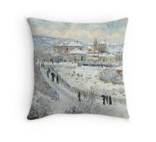 Claude Monet - View Of Argenteuil In The Snow Throw Pillow