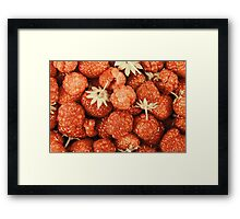 Raspberry And Strawberry Pile In Fruit Market Framed Print