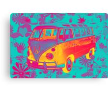 Colorful VW 21 window Mini Bus Pop Art image Canvas Print