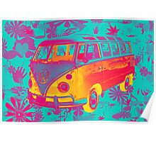 Colorful VW 21 window Mini Bus Pop Art image Poster