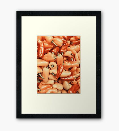 Red And Orange Capsicum In Vegetable Market Display Framed Print