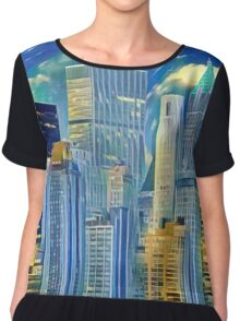 Abstract City Scape Chiffon Top