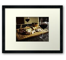 Camembert, Gouda And Brie Cheese Platter With Wine Glasses Framed Print