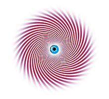EyeNotise Eye & Hypnosis Swirl Design - Red & Blue Photographic Print