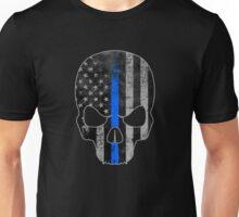 Blue Line American Flag Skull Unisex T-Shirt