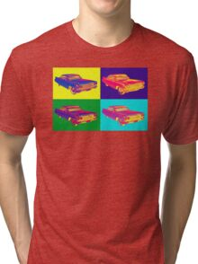 Colorful 1960 Cadillac Luxury Car Pop Art Tri-blend T-Shirt