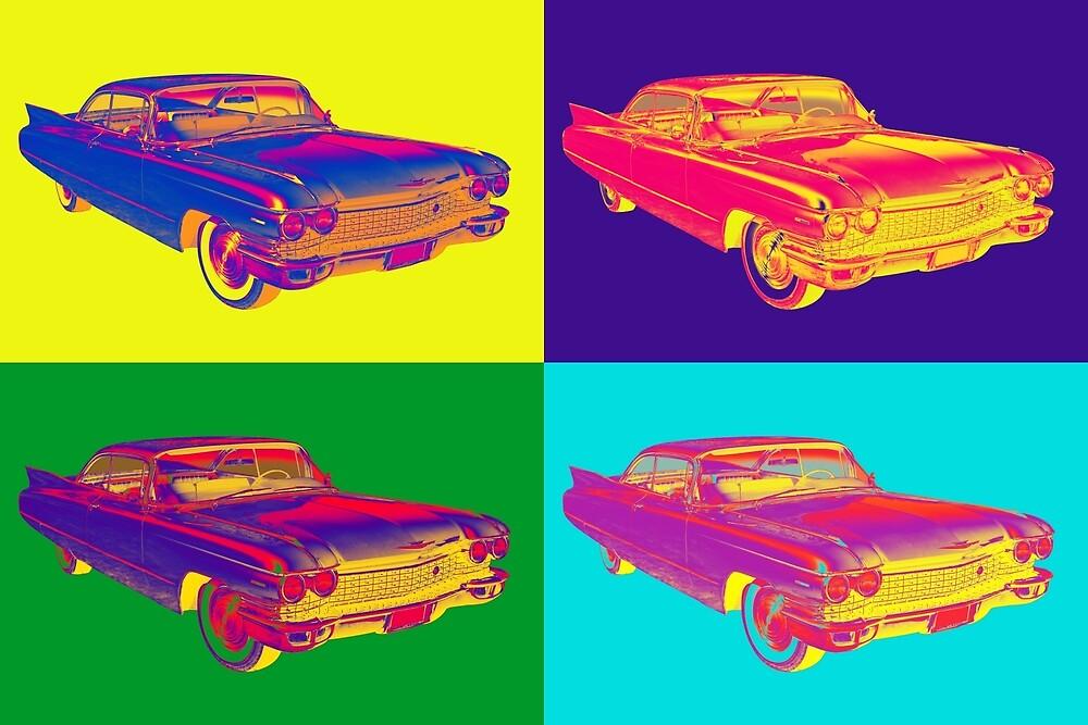 Colorful 1960 Cadillac Luxury Car Pop Art by KWJphotoart