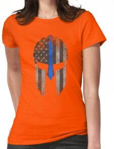 Blue Line American Flag Spartan Helm Womens Fitted T-Shirt