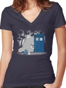 Curious Forest Spirits Women's Fitted V-Neck T-Shirt
