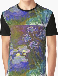 Claude Monet - Water Lilies And Agapanthus 1917 Graphic T-Shirt