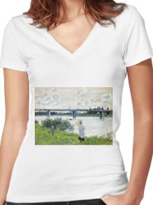 Claude Monet - The Promenade With The Railroad Bridge, Argenteuil 1874  Women's Fitted V-Neck T-Shirt