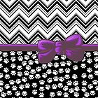 Ribbon, Bow, Dog Paws, Zigzag - White Black Purple by sitnica