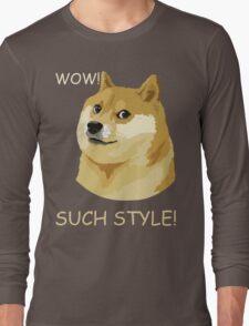 WOW! SUCH STYLE! Funny Doge Meme Shiba Inu T Shirt Long Sleeve T-Shirt