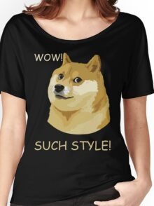 WOW! SUCH STYLE! Funny Doge Meme Shiba Inu T Shirt Women's Relaxed Fit T-Shirt