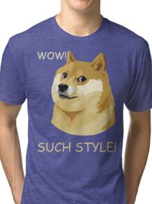WOW! SUCH STYLE! Funny Doge Meme Shiba Inu T Shirt Tri-blend T-Shirt