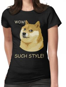 WOW! SUCH STYLE! Funny Doge Meme Shiba Inu T Shirt Womens Fitted T-Shirt