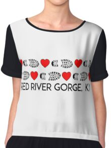 HIKING RED RIVER GORGE I LOVE TO HIKE HIKER HEARTS BOOTS KENTUCKY Chiffon Top