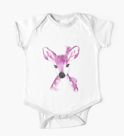 Pink Abstract Deer One Piece - Short Sleeve