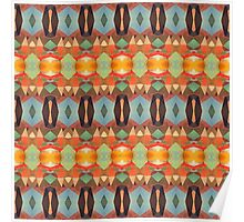 Orange Blue And Brown Pattern Poster