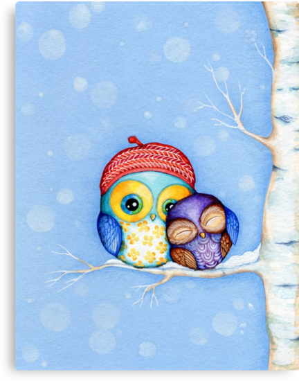 Owl in a Little Red Beret by Annya Kai