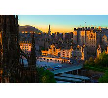 Auld Reekie at sunrise: a digital painting Photographic Print