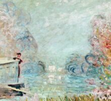 Claude Monet - The Boat Studio On The Seine 1875  Sticker