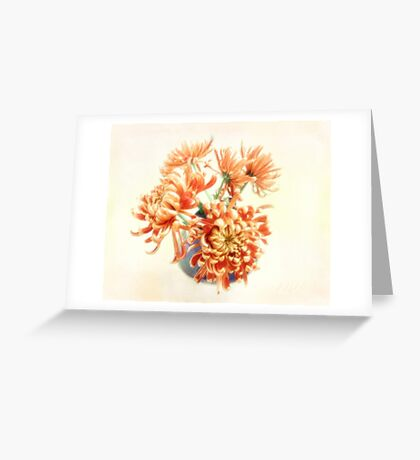 Colorful Red and Yellow Mums Still Life Greeting Card
