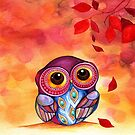 Owl's First Fall Leaf by Annya Kai