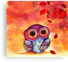 Owl's First Fall Leaf Canvas Print