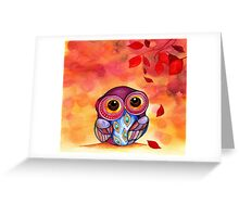 Owl's First Fall Leaf Greeting Card