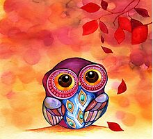 Owl's First Fall Leaf Photographic Print