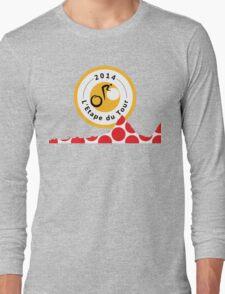 Red Polka Dot 2014 L'Etape du Tour Mountain Profile v2 Long Sleeve T-Shirt