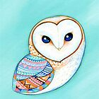 Tribal Pattern Barn Owl by Annya Kai
