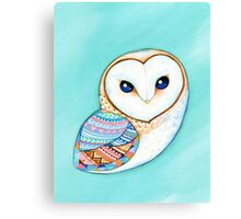 Tribal Pattern Barn Owl Canvas Print