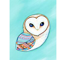 Tribal Pattern Barn Owl Photographic Print