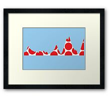 Red Polka Dot Mountain Profile Framed Print