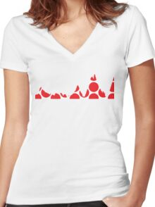 Red Polka Dot Mountain Profile Women's Fitted V-Neck T-Shirt
