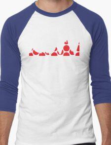 Red Polka Dot Mountain Profile Men's Baseball ¾ T-Shirt