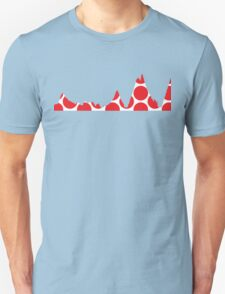 Red Polka Dot Mountain Profile Unisex T-Shirt