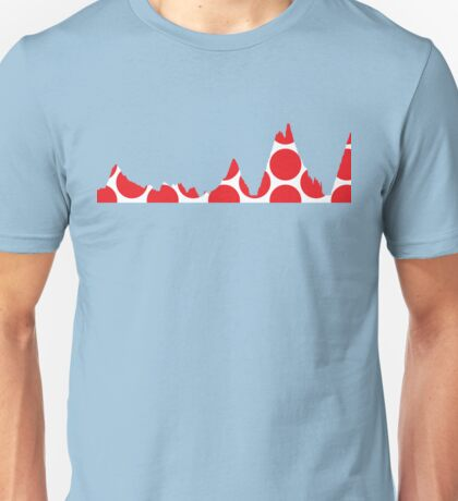 Red Polka Dot Mountain Profile Unisex T-Shirt
