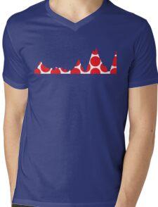 Red Polka Dot Mountain Profile Mens V-Neck T-Shirt