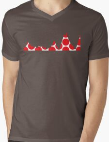 Red Polka Dot Mountain Profile Mens V-Neck T-Shirt