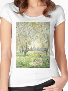 Claude Monet - Woman Seated Under The Willows 1880  Women's Fitted Scoop T-Shirt